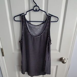 Loft Navy & White Striped Tank Size L